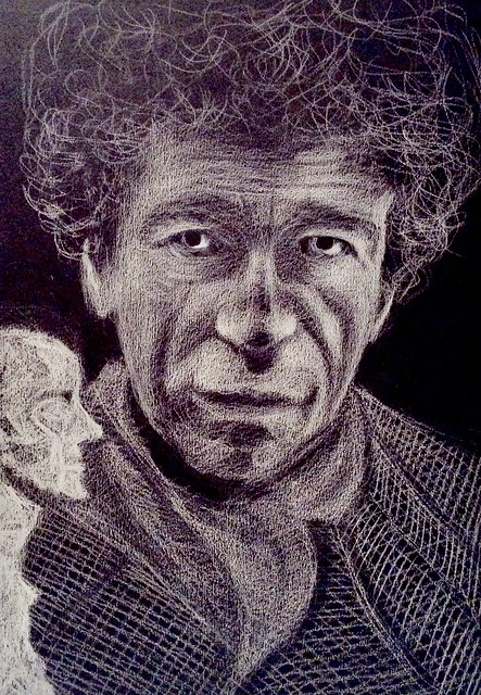 Portrait. Alberto Giacometti , painter and sculptor. White pencil drawing on black card by jmsw.
