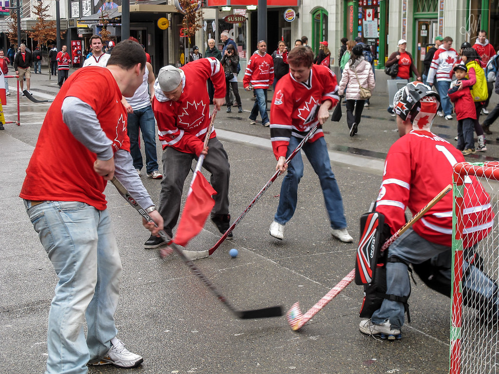 Celebrating Crosby's golden goal on Vancouver's Granville Street