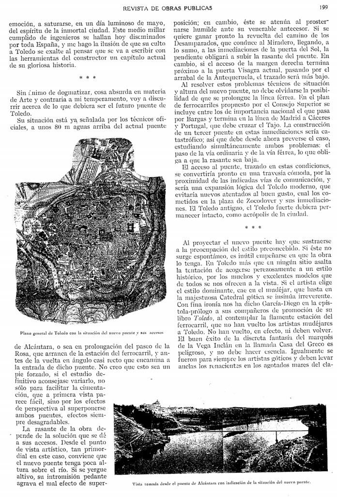 Artículo de Vicente Machimbarrena sobre el nuevo puente sobre el Tajo, revista de Obras Públicas, número 2429 año 1925