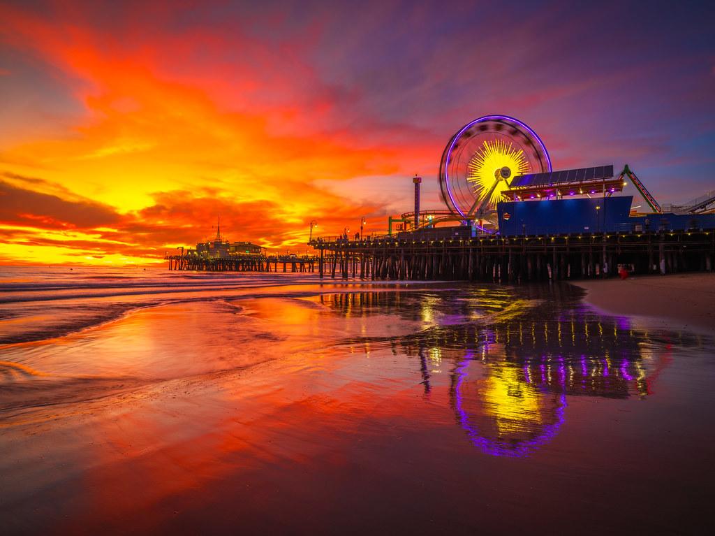 Beach Art Amusement Park Photography Sunset Beach Pier Art Ferris Wheel Sunset Photography Santa Monica Pier California Fine Art Print