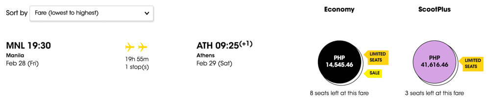 scoot manila to athens flight