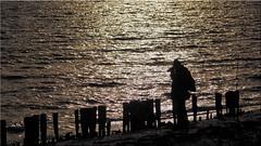 A photographer on the Baltic Sea beach