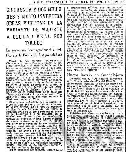En 1974 Luis Moreno Nieto escribe en ABC sobre el Puente de Azarquiel