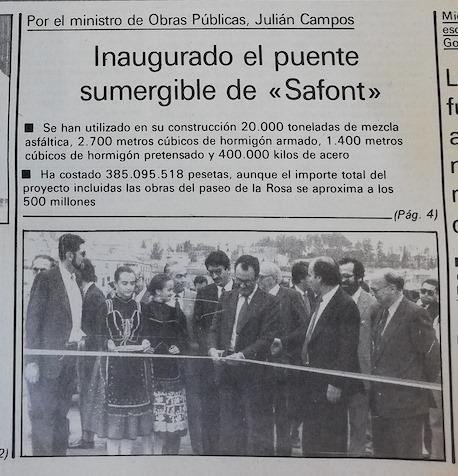 El puente de Azarquiel fue inaugurado el 19-06-1984 aprovechando las fiestas del Corpus. Acudió a Toledo el ministro de Obras Públicas y fue obsequiado con un cubo de peces muertos. Foto del Alcázar de 21 de junio de 1984.
