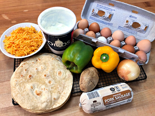 ingredients for breakfast burritos