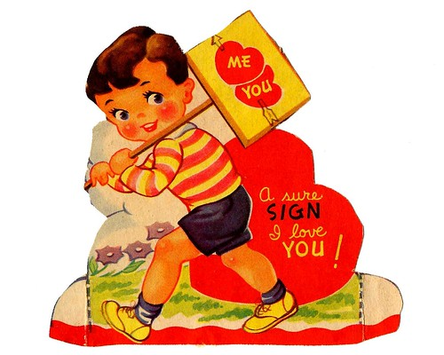 Vintage Child's Valentine Card - A Sure Sign I Love You! Made In USA, Circa 1940s