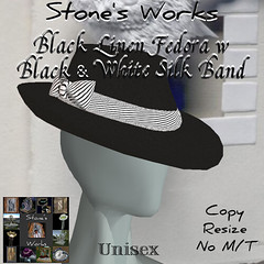 Black Linen Fedora w Wht Silk Band Stone's Works