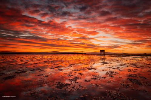 2018 holyisland northumberland pilgrimsway posts refugehut sunrise fierysky england mudflats watt colourful presunrise markerpoler reflections lowtide ebbe spiegelungen