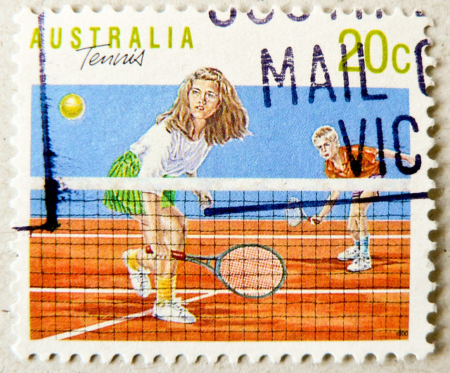 great stamp Australia 20c Tennis Sport (网球, τένις, טניס  tenis,, التنس , टेनिस, tênis, टेनिस, テニス, teniss, 테니스,  tenisas, теннис, เทนนิส, тенис) postzegel Australië postes timbre Australie γραμματόσημα Αυστραλία bélyeg Ausztrália 切手 オーストラリア почтовые марки