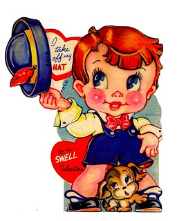 Vintage Child's Folding Valentine Card - I Take Off My Hat To A Swell Valentine, Made In USA, Circa 1940s