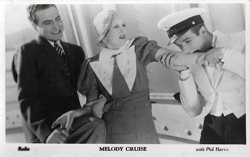 Phil Harris, Chick Chandler and [Greta Nissen] in Melody Cruise. RKO. Film Weekly