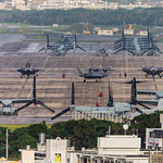 """MCAS Futenma Quite a full ramp  with Bell UH-1Y Venom Bell AH-1W SuperCobra , Sikorsky CH-53E Super Stallion & MV-22 Osprey's F-35B Lightning II's (VMFA-121), """"Green Knights""""  from the USS Wasp on deployment to Japan Marine Corps Air Station Futenma is a United States Marine Corps base located in Ginowan, Okinawa, Japan,  on the island of Okinawa."""