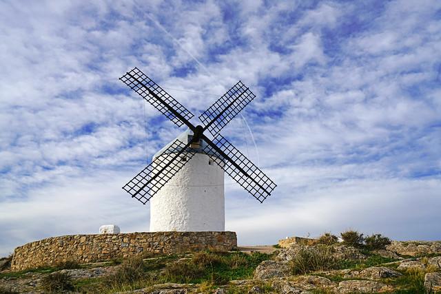 Beautiful sky over picturesque windmill, Consuegra, Spain