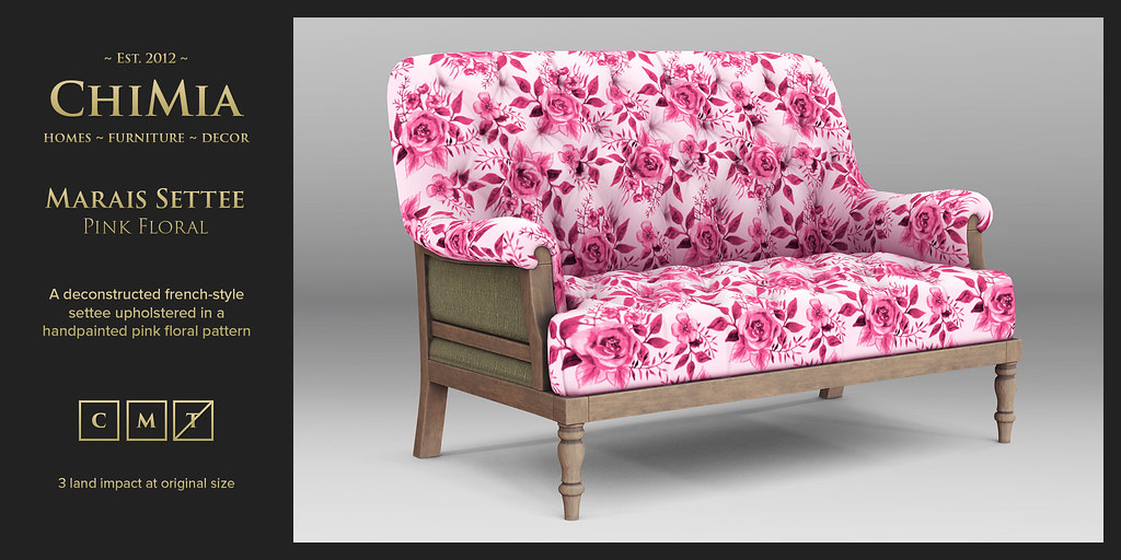 Marais Settee in pink floral for Wanderlust Weekend