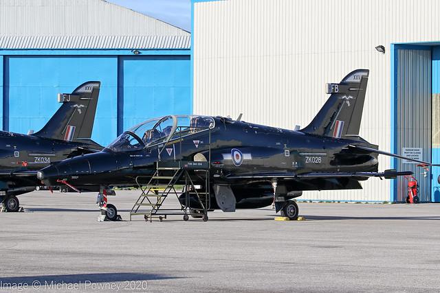 ZK026 - 2008 build British Aerospace Hawk T.2, on TDY duty at Hawarden