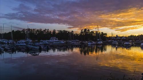 nokialumia1020 waterscape landscape outdoors outside clouds sky colour reflection sunset boast yachts marina finland espoo