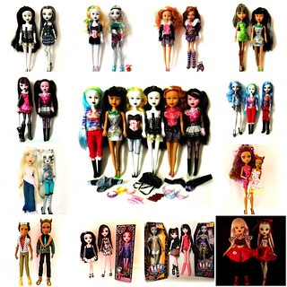 Monster High with copycats and similar dolls