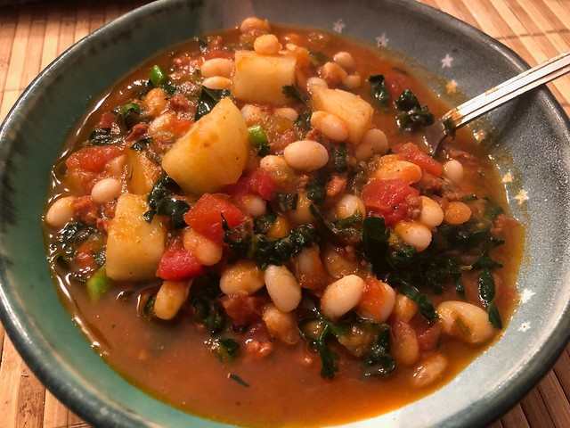 Kale and White Bean Stew with Merguez