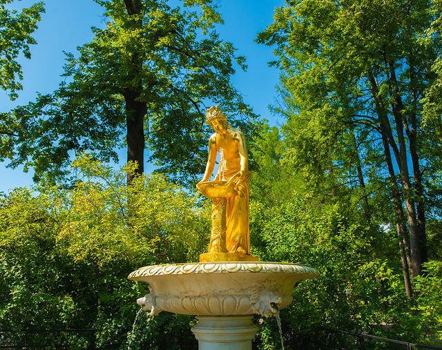 Fountain in the park of Peterhof. City St. Petersburg.