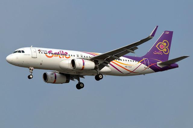 HS-TXD Thai Smile Airways Airbus A320-232 at Bangkok Suvarnabhumi Airport on 12 January 2020