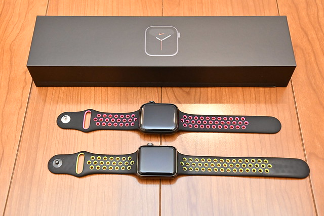 Apple Watch Nike Series 5 (44mm, Space Gray) and Apple Watch Nike Series 2 (42mm, Space Gray)