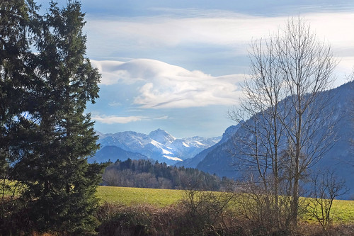 oberbayern berchtesgadenerland badreichenhall vachenlueg högl mountains meadow sky clouds trees winter photopedia fotopedia