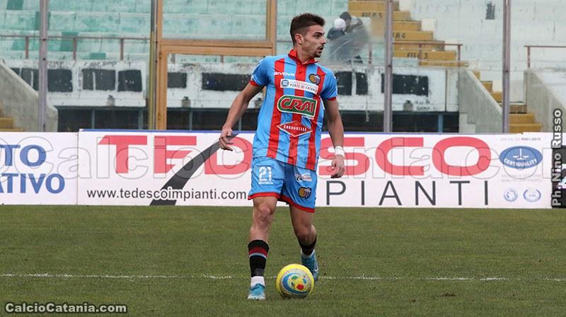 Kevin Biondi con la maglia del Catania