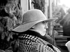 woman with felt hat