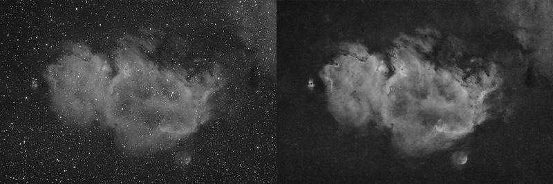 A H-alfa felvételek eredménye egy fekete-fehér fotó, mely a ködösség kontrasztemeléséhez volt használva. A második képen egy