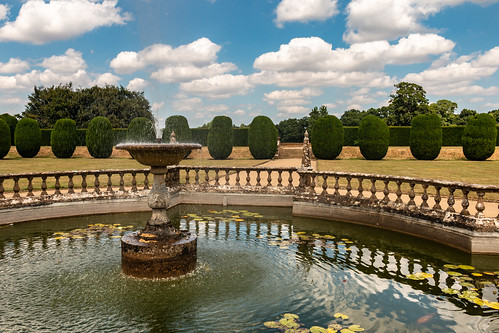 montacute garden fountain water waterfeature splash yew tree ornamental landscape balustrade stone fence sky nationaltrust somerset