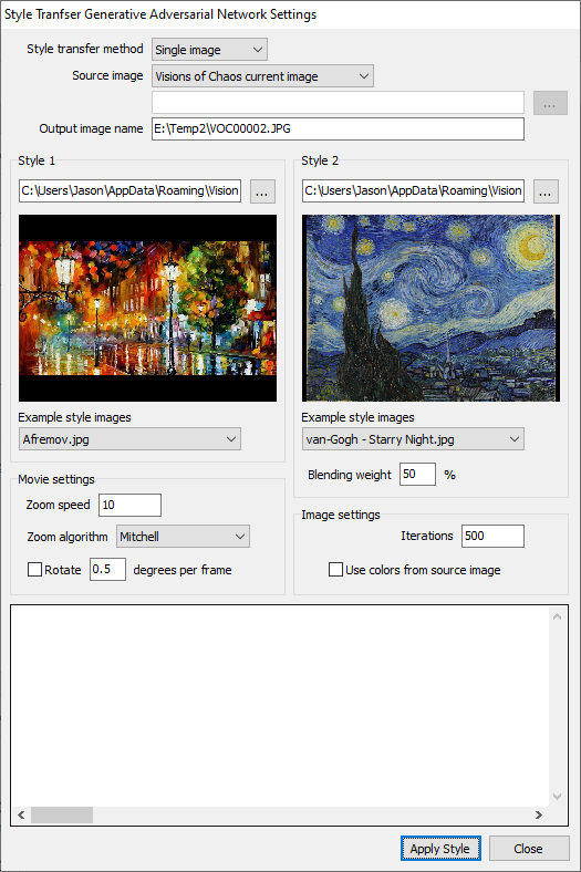 Visions of Chaos Style Transfer GAN