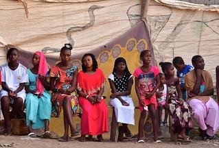 Senegal- Tambacounda- waiting for 'fake lions' dance
