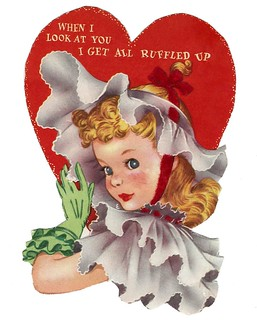 Vintage Child's Valentine Day Card - When I Look At You I Get All Ruffled Up, Made In USA, Circa 1940s