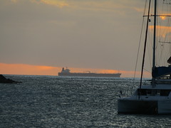 A freighter by sunset in Rodney Bay