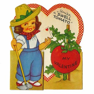 Vintage Child's Valentine Card - You're A Swell Tomato My Valentine, An A-Meri-Card, Made In USA, Circa 1940s