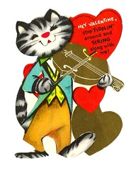 Vintage Child's Valentine Card - Hey Valentine, Stop Fiddlin' Around And String Along With Me! Circa 1950s