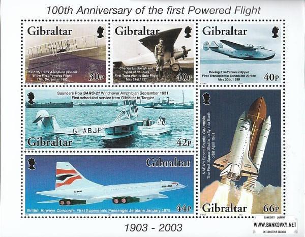 Známky Gibraltar 2003 Motorové lety, nerazený hárček MNH
