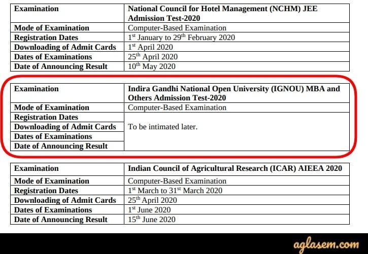 NTA's Press Release Regarding IGNOU B.ED 2020 Entrance Exam Dates