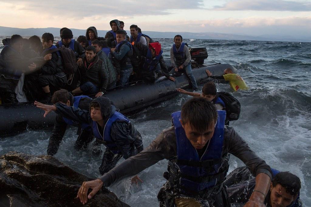 抵達勒斯博島的難民。(圖片來源:Tyler Hicks/The New York Times)