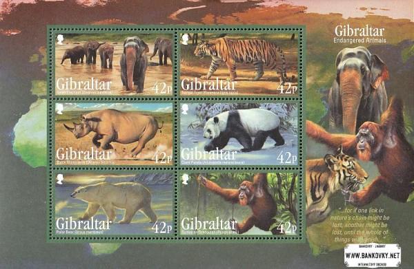 Známky Gibraltar 2011 Ohrozené zvieratá, nerazený hárček MNH