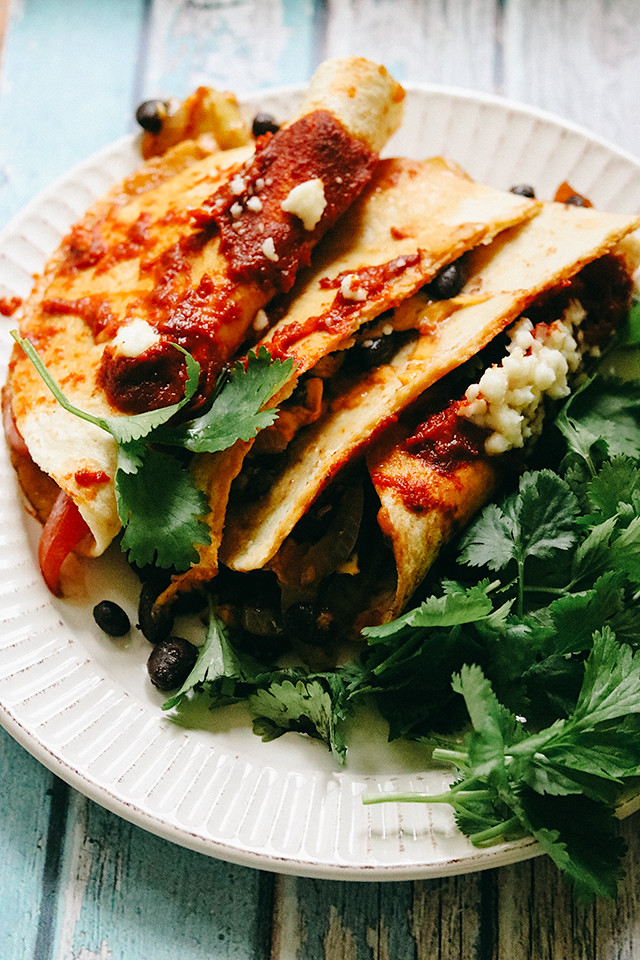 Vegetarian Black Bean and Cheese Ancho-ladas