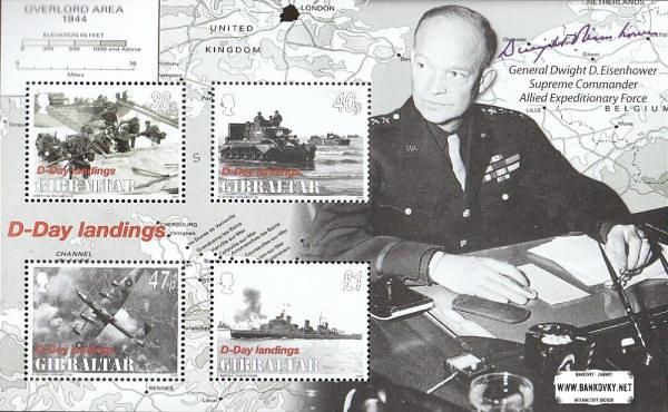 Známky Gibraltar 2004 Eisenhower, vylodenie, nerazený hárček MNH
