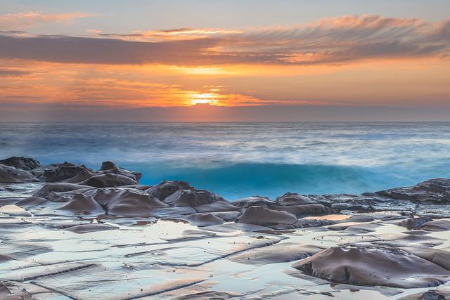 Coastal Sunrise Seascape from Rock Platform