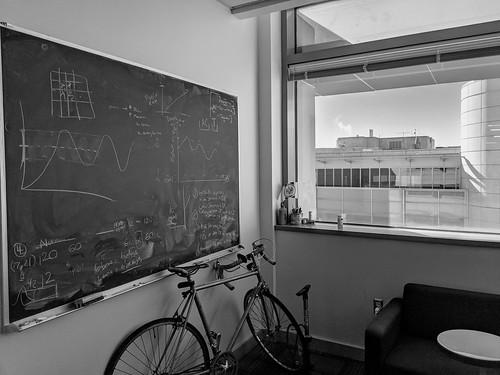Blackboard, bike, window