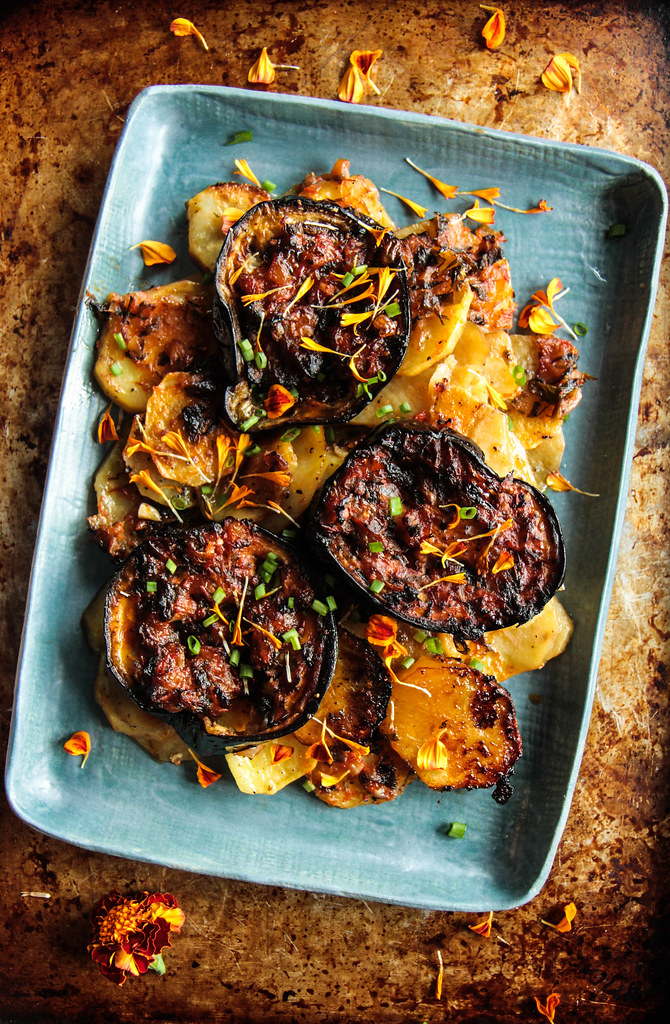 Greek Eggplant and Potatoes from HeatherChristo.com