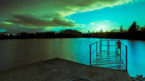 ballyshunnock lake landscape outdoor pier sun sunset water clouds ireland reservoir sky waterford