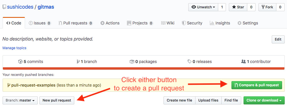 screenshot of New pull request button