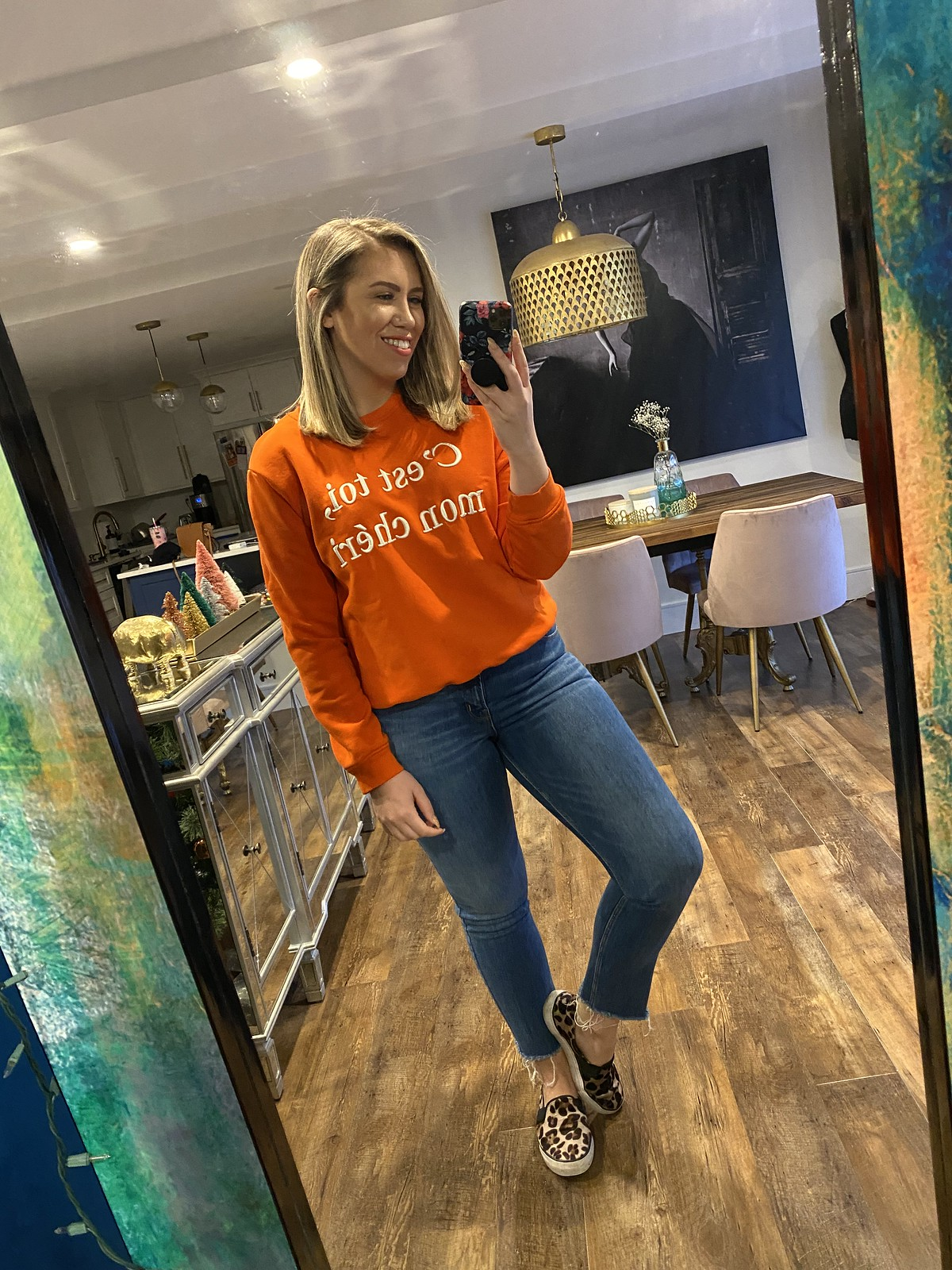 Casual Outfit Style | Orange H&M French Sweatshirt | Old Navy Power Straight Jeans | Leopard Slip On Sneakers