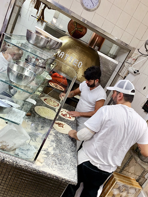 Italy 2019, Naples Napoli, pizzeria Di Matteo pizza kitchen