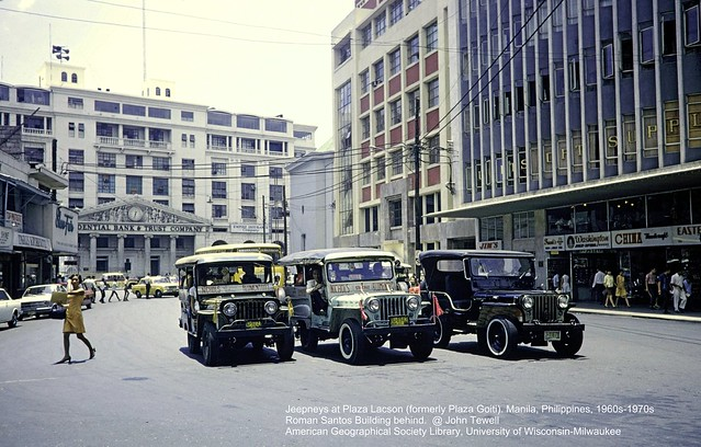Jeepneys at Plaza Lacson (formerly Plaza Goiti). Manila, Philippines, 1960s-1970s